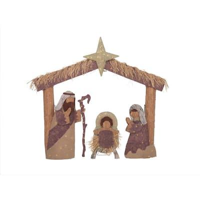 5 ft Warm White 160-Light LED Nativity Set