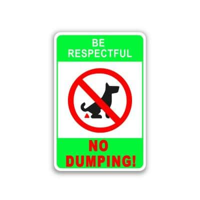12 in. x 8 in. Plastic No Pet Dog Pooping Dumping Defecating Sign