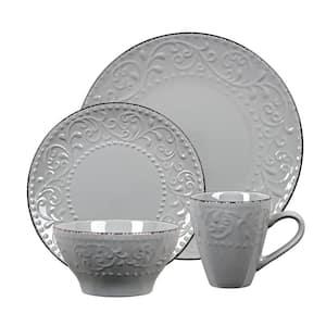 16-Piece Stoneware Scroll Dinnerware Set-Gray