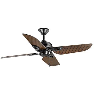Halpert 52 in. Indoor/Outdoor Matte Black Wet Rated Downrod Ceiling Fan with 4 Weatherproof, ABS QuickInstall Blades