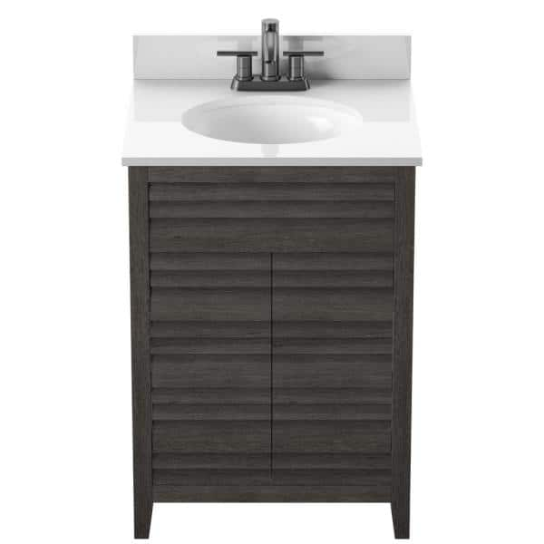 Twin Star Home 24 In Bath Vanity With Louver Doors In Weathered Gray With Stone Vanity Top In White With Basin 24bv512 Pg77 The Home Depot