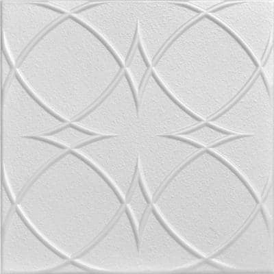 Circles and Stars 1.6 ft. x 1.6 ft. Glue Up Foam Ceiling Tile in Plain White (21.6 sq. ft./case)