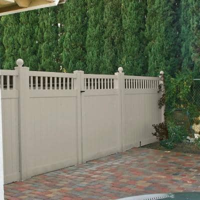 5 in. x 5 in. x 9 ft. Khaki Vinyl Fence End Post