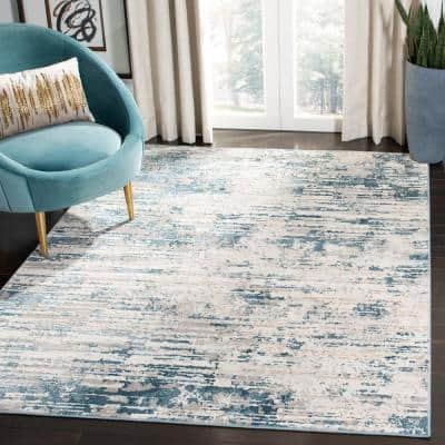 Vogue Cream/Teal 7 ft. x 9 ft. Abstract Area Rug