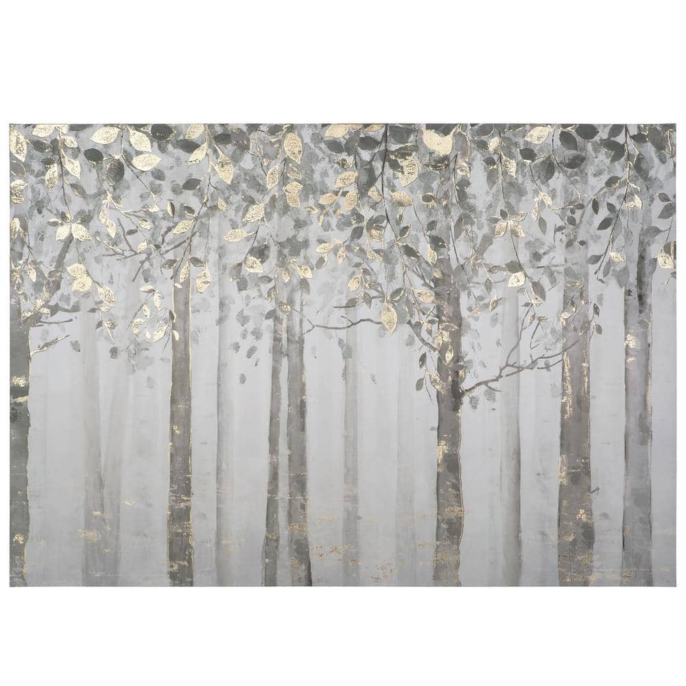 Yosemite Home Decor 28 In X 40 Grey And Yellow Trees Printed Canvas Wall Art Yj9378a The Depot