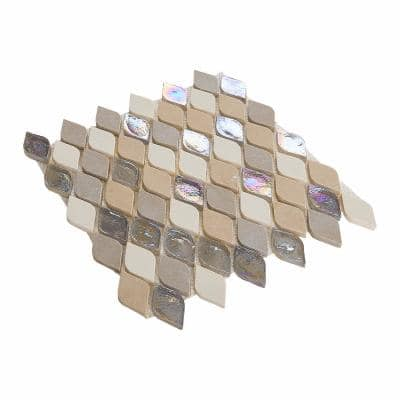 Premier Elegance Beige 12 in. x 13-3/4 in. x 8 mm Glass and Limestone Resin Mosaic Wall Tile (0.82 sq. ft. / piece)