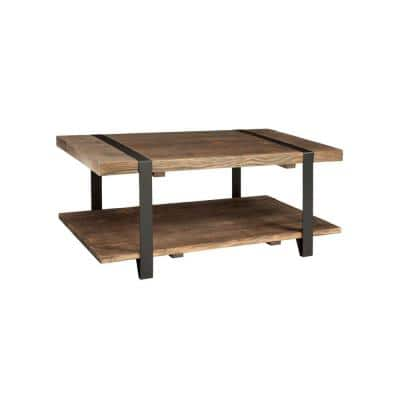 Modesto 42 in. Rustic/Natural Large Rectangle Wood Coffee Table with Shelf