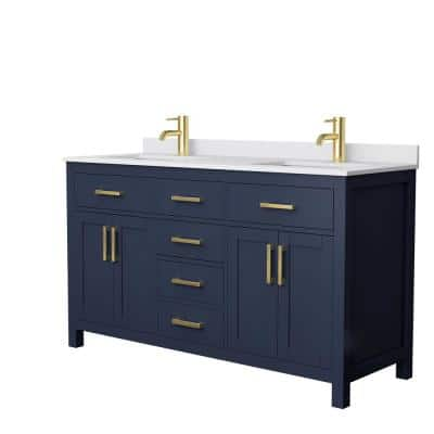 Beckett 60 in. W x 22 in. D Double Vanity in Dark Blue with Cultured Marble Vanity Top in White with White Basins