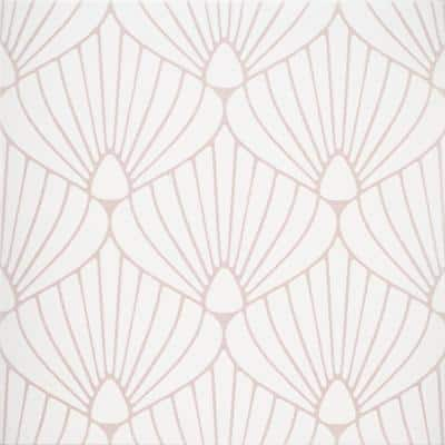 Epoque Shell White/Pink 8 in. x 8 in. Matte Ceramic Floor and Wall Tile (12.7 sq. ft./Case)