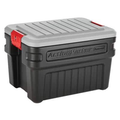 Durable Rubbermaid Action Packer construction Storage Stackable Tote 35 Gal