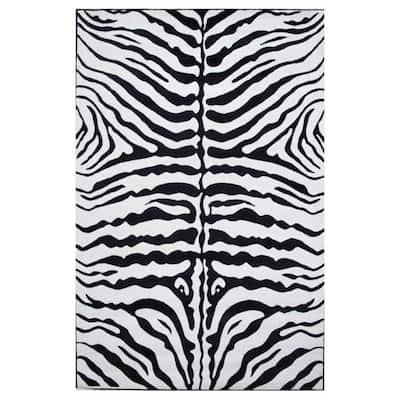 Supreme Zebra Skin Black and White 8 ft. x 11 ft. Area Rug