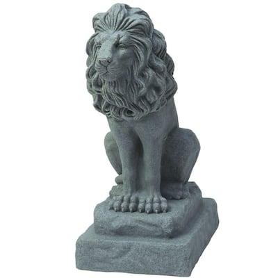 28 in. Guardian Lion Statue in Grey