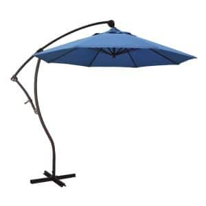 9 ft. Bronze Aluminum Cantilever Patio Umbrella with Crank Open 360  Rotation in Frost Blue Olefin