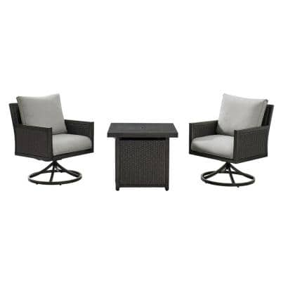 Lambert 3-Piece Wicker Patio Conversation Set with Fire Pit with Gray Cushions