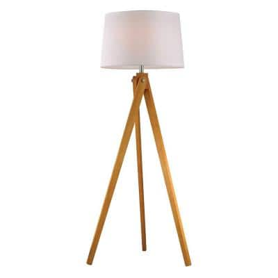 Wooden 1-Light 63 in. Natural Wood Tone Tripod Floor Lamp