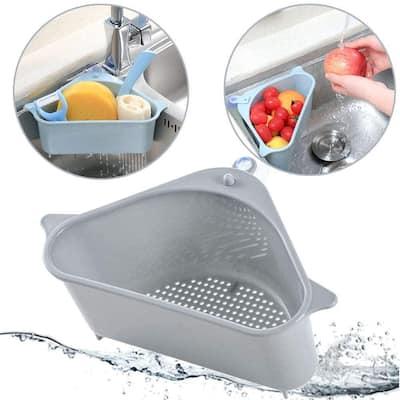 Multi-function Triangle Sink Basket Strainer Sponge Storage, Gray