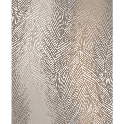 Wheaton Bronze Leaf Wave Paper Strippable Roll (Covers 56.4 sq. ft.)