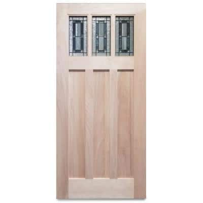 36 in. x 79 in. Unfinished 3-Lite Triple Pane Decorative Glass Mahogany Wood Front Door Slab