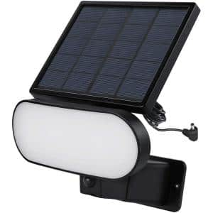 2-In-1 Solar Panel Charger and Security Light for Ring Stick Up Cam Battery and Ring Spotlight Cam Battery, Black