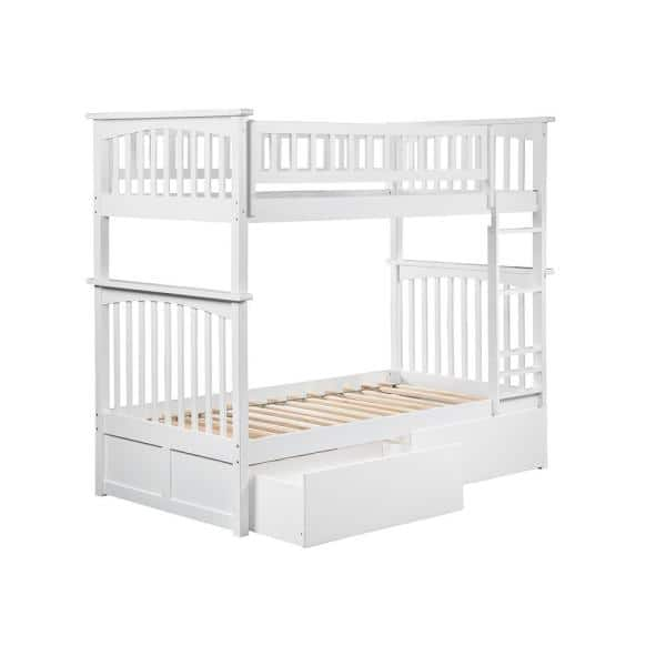 Atlantic Furniture Columbia Bunk Bed Twin over Twin with 2 Urban Bed Drawers in White | The Home Depot