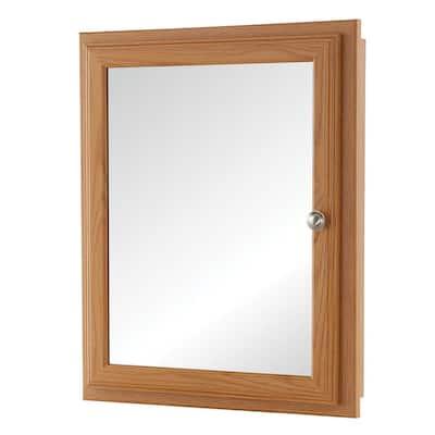 20-3/4 in. x 25-3/4 in. Fog Free Framed Recessed or Surface-Mount Bathroom Medicine Cabinet in Oak