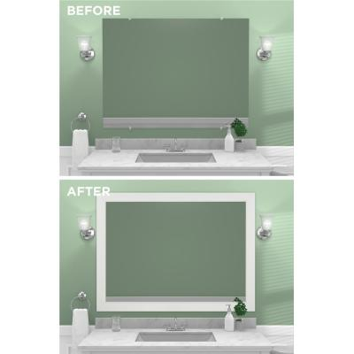 Decorative 48 in. x 36 in. Surfaced Single Mirror Framing Kit for Bathrooms in White with Flat Frame