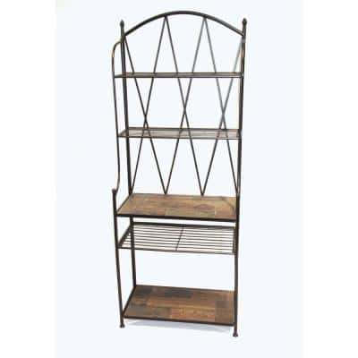 Wales Stone Collection Black Baker's Rack w/ Slate top