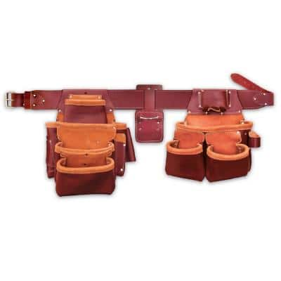 16 in. 15-Pocket 4-Piece Leather Pro Framer's Combo Tool Belt in Brown