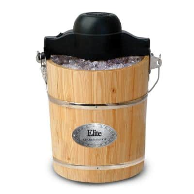 6 Qt. Old Fashioned Pine Bucket Electric or Manual Ice Cream Maker
