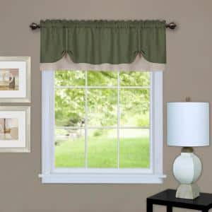 Darcy 14 in. L Polyester Window Curtain Valance in Green/Camel