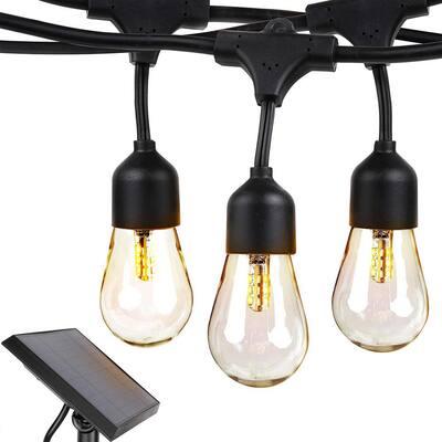 Ambience Pro Outdoor 48 ft. L Solar LED 1-Watt S14 Edison Bulb Hanging String Light 3000K