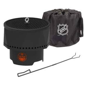 The Ridge NHL 15.7 in. x 12.5 in. Round Steel Wood Pellet Portable Fire Pit with Spark Screen, Poker- Edmonton Oilers