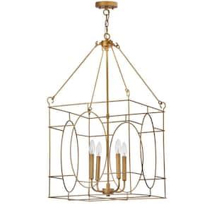 Margot 4-Light Gold Cage Pendant