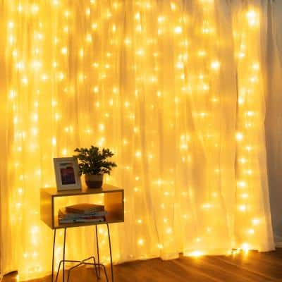 6.5 ft. x 9.8 ft. 300 Warm White LED Curtain Lights with Adapter, 10 Strands, UL Adapter with 8-Light Modes