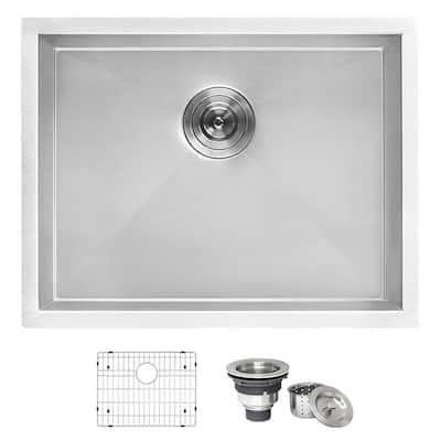 23 in. x 18 in. Single Bowl Undermount 16-Gauge Stainless Steel Laundry Utility Sink