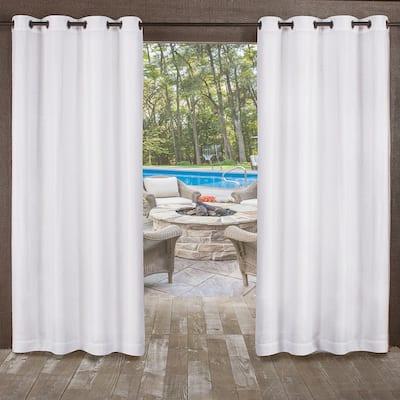 Winter White Solid Grommet Room Darkening Curtain - 54 in. W x 84 in. L (Set of 2)