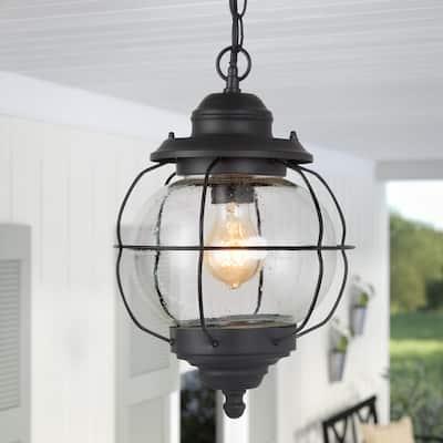 1-Light Modern Farmhouse Black Outdoor Pendant Coastal Lantern Patio Island Pendant Light with Seeded Glass Shade