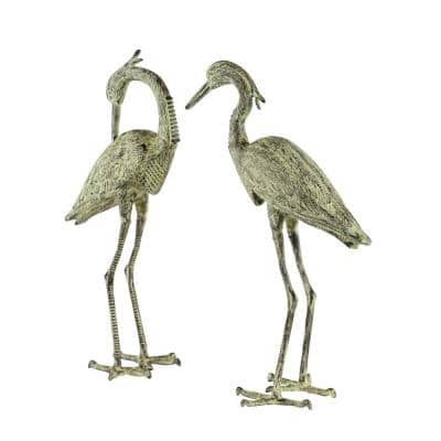 34 in. and 36 in. Distressed White Crane Flamingo Garden Statues (Set of 2)