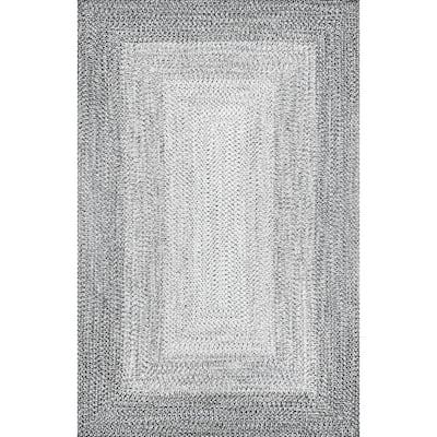 Jayda Braided Gradience Light Gray 7 ft. 6 in. x 9 ft. 6 in. Indoor/Outdoor Area Rug
