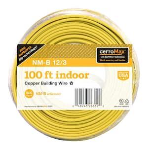 100 ft. 12/3 Yellow Solid CerroMax SLiPWire CU NM-B W/G Wire