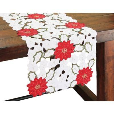 16 in. x 36 in. Holiday Poinsettia Embroidered Cutwork Table Runner