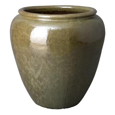 29 in. Round Tea Green Ceramic Rimmed Planter