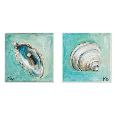 """12 in. x 12 in. """"Mollusk Illustrations"""" by Molly Susan Strong Printed Wood Wall Art 2-Piece"""