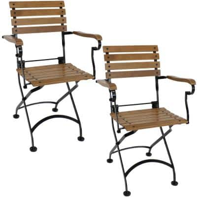 Folding Chestnut Wood Outdoor Dining Armchair (Set of 2)