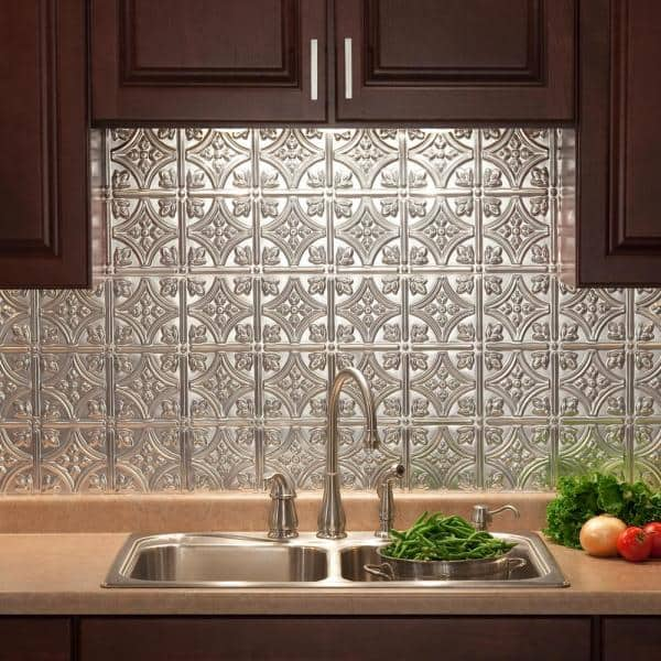 Fasade Traditional 1 18 In X 24 In Brushed Aluminum Vinyl Decorative Wall Tile Backsplash 15 Sq Ft Kit N5008 The Home Depot