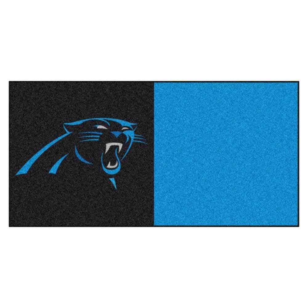 Fanmats Nfl Carolina Panthers Black And Blue Nylon 18 In X 18 In Carpet Tile 20 Tiles Case 8549 The Home Depot