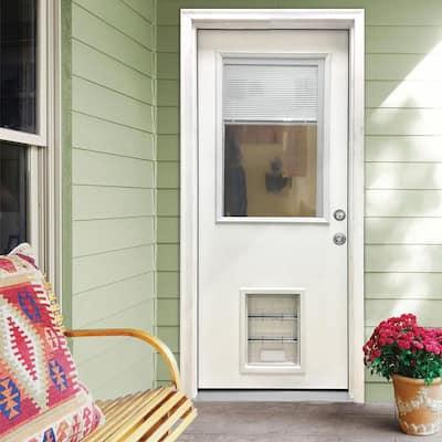 36 in. x 80 in. Classic Clear Mini-Blind LHIS White Primed Fiberglass Prehung Front Door with XL Pet Door