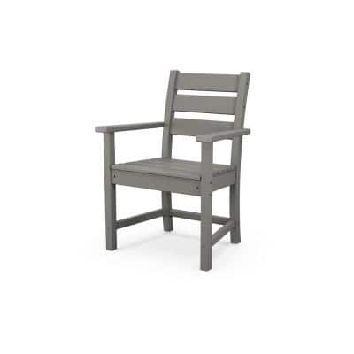 Grant Park Slate Grey Stationary Plastic Outdoor Dining Chair