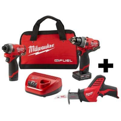 M12 FUEL 12-Volt Li-Ion Brushless Cordless Hammer Drill and Impact Driver Combo Kit (2-Tool) with M12 HACKZALL