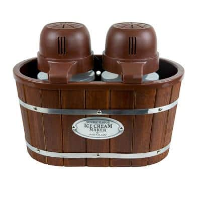 4 Qt. in Brown Electric Double Flavor Ice Cream Maker